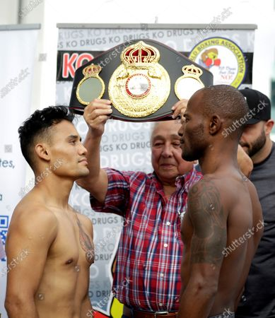 Cuban Daniel Matellon (R) and the Mexican Erik 'Habanerito' Lopez (L) pose during their weighing, in Panama City, Panama, 06 February 2020. Matellon and Lopez will fight on 07 February at the Roberto Duran arena organized by the WBA (World Boxing Association). Matellon, a Cuban fighter based in Panama, and Lopez had no problems with official weighing, marking both 107 pounds and three quarters.