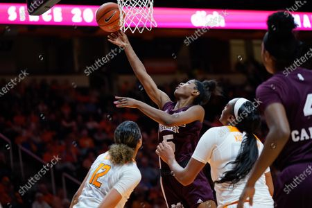 Rickea Jackson #5 of the Mississippi State Bulldogs shoots the ball during the NCAA basketball game between the University of Tennessee Lady Volunteers and the Mississippi State University Bulldogs at Thompson Boling Arena in Knoxville TN Tim Gangloff/CSM