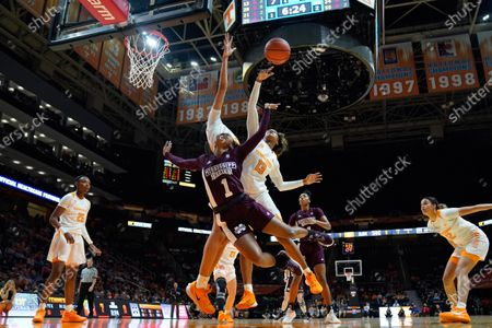 Jazmine Massengill #13 of the Tennessee Lady Vols and Tamari Key #20 of the Tennessee Lady Vols block the shot attempt by Myah Taylor #1 of the Mississippi State Bulldogs during the NCAA basketball game between the University of Tennessee Lady Volunteers and the Mississippi State University Bulldogs at Thompson Boling Arena in Knoxville TN Tim Gangloff/CSM