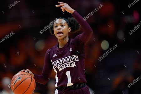 Myah Taylor #1 of the Mississippi State Bulldogs brings the ball up court during the NCAA basketball game between the University of Tennessee Lady Volunteers and the Mississippi State University Bulldogs at Thompson Boling Arena in Knoxville TN Tim Gangloff/CSM