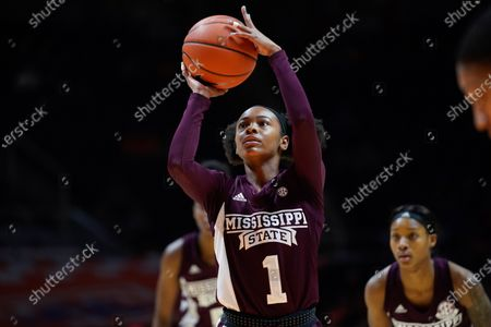 Myah Taylor #1 of the Mississippi State Bulldogs shoots a free throw during the NCAA basketball game between the University of Tennessee Lady Volunteers and the Mississippi State University Bulldogs at Thompson Boling Arena in Knoxville TN Tim Gangloff/CSM
