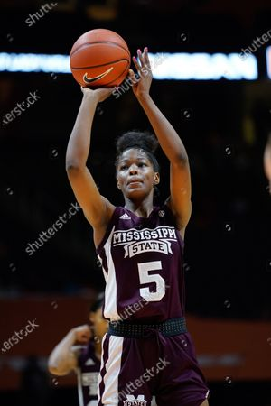 Rickea Jackson #5 of the Mississippi State Bulldogs shoots a free throw during the NCAA basketball game between the University of Tennessee Lady Volunteers and the Mississippi State University Bulldogs at Thompson Boling Arena in Knoxville TN Tim Gangloff/CSM