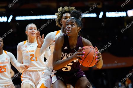 Rickea Jackson #5 of the Mississippi State Bulldogs looks to drives to the basket during the NCAA basketball game between the University of Tennessee Lady Volunteers and the Mississippi State University Bulldogs at Thompson Boling Arena in Knoxville TN Tim Gangloff/CSM