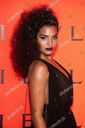 Indya Moore attends the Bulgari New York Fashion Week party at Duggal Greenhouse, in New York