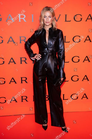 Carolyn Murphy attends the Bulgari New York Fashion Week party at Duggal Greenhouse, in New York