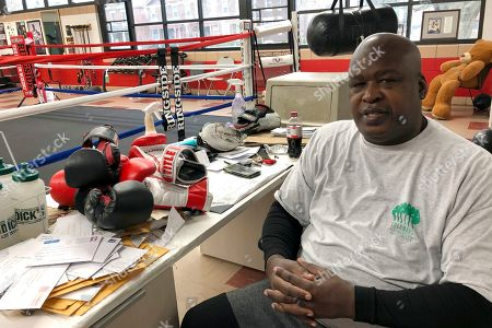 """James """"Buster"""" Douglas, the former world heavyweight champion, sits at the Thompson Community Center in Columbus, Ohio, where he teaches youth boxing. In one of the more spectacular upsets in sports history, Douglas defeated Mike Tyson, the reigning world heavyweight champion on Feb. 11, 1990, in Tokyo"""