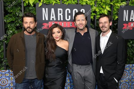 Diego Luna (L), Mexican actress Teresa Ruiz (2-L), US producer Eric Newman (2-R) and US actor Scoot McNairy (R) arrive on the red carpet prior to a special screening of Netflix's 'Narcos: Mexico Season 2' at the Netflix Home Theater in Los Angeles, California, USA, 06 February 2020.