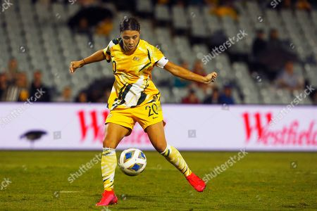 Samantha Kerr of Australia takes a shot against Taiwan during their Olympic soccer qualifying match in Sydney