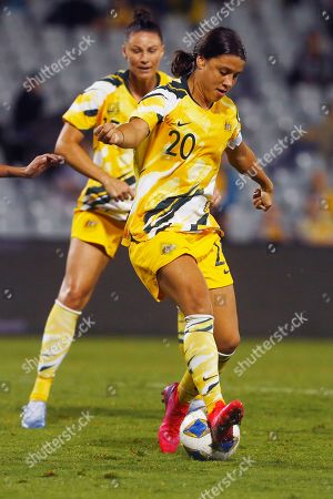 Samantha Kerr of Australia plays a back heal against Taiwan during their Olympic soccer qualifying match in Sydney