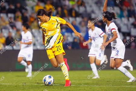Samantha Kerr of Australia takes a shot a goal against Taiwan during their Olympic soccer qualifying match in Sydney