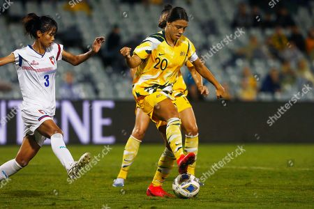 Samantha Kerr of Australia plays a backheal against Taiwan during their Olympic soccer qualifying match in Sydney