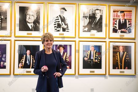 Stock Picture of Australian National University (ANU) Chancellor Julie Bishop poses for a photograph on her first day at work at the ANU in Canberra, Australian Capital Territory, Australia, 06 February 2020 (issued 07 February 2020). Julie Bishop, who was Australia's Member of Parliament (MP) for Curtin from 1998 to 2019, is the 13th Chancellor of the ANU, the first ever female Chancellor at the university.