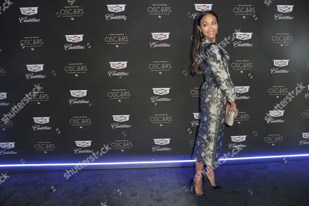 Zoe Saldana attends Cadillac's pre-Oscar event at Chateau Marmont, in Los Angeles
