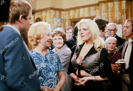Geoffrey Bateman (as Philip Lightfoot), Doris Speed (as Annie Walker) and Julie Goodyear (as Bet Lynch)