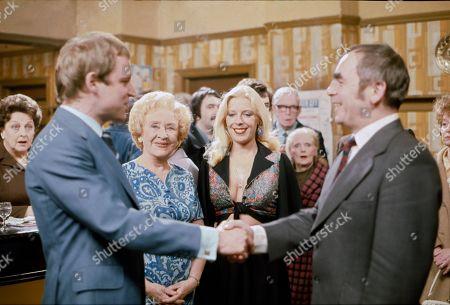 Betty Driver (as Betty Turpin), Geoffrey Bateman (as Philip Lightfoot), Doris Speed (as Annie Walker), Julie Goodyear (as Bet Lynch) and Ron McCormick as Herbert Siddall