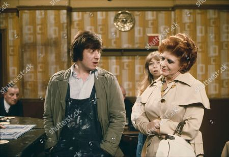 Neville Buswell (as Ray Langton), Helen Worth (as Gail Potter) and Pat Phoenix (as Elsie Howard)