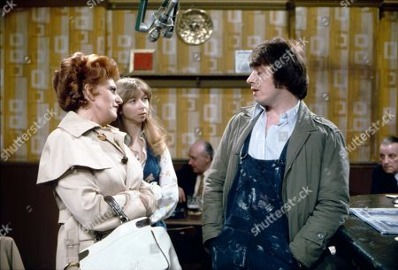 Pat Phoenix (as Elsie Howard), Helen Worth (as Gail Potter) and Neville Buswell (as Ray Langton)
