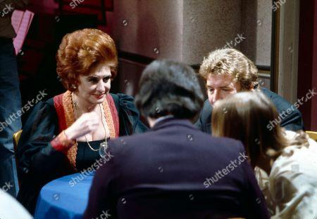 Rita Littlewood performs at the Gatsby Club. Pat Phoenix (as Elsie Howard), Neville Buswell (as Ray Langton), Peter Adamson (as Len Fairclough) and Anne Kirkbride (as Deirdre Langton)