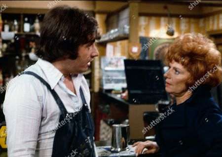 Neville Buswell (as Ray Langton) and Barbara Knox (as Rita Littlewood)