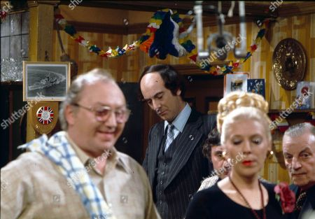 Fred Feast (as Fred Gee), Roger Brierley (as Lanky Potts) and Julie Goodyear (as Bet Lynch)