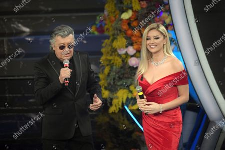 Stock Image of Bobby Solo, Albanian tv conducer Alketa Vejsiu