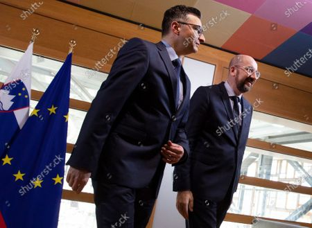 European Council President Charles Michel (R) welcomes Slovenian Prime Minister Marjan Sarec (L) prior to a meeting at the European Council headquarters in Brussels, Belgium, 07 February 2020.