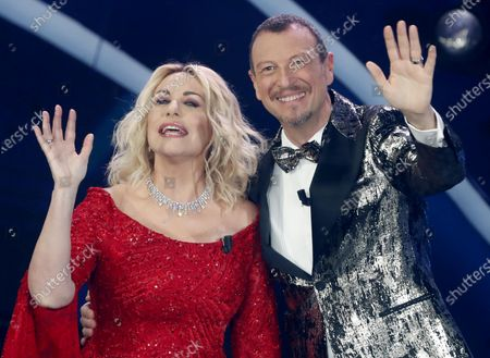 Stock Photo of Italian Sanremo Festival artistic director Amadeus (R) and Italian tv host Antonella Clerici (L) on stage at the Ariston theatre during the 70th Sanremo Italian Song Festival, Sanremo, Italy, 07 February 2020. The festival runs from 04 to 08 February.