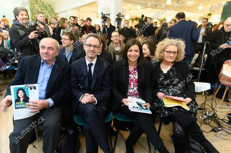Jean Louis Missika, Emmanuel Gregoire, Anne Hidalgo and Alexandra Cordebard. French Socialist Party (PS) Mayor of Paris and candidate for re-election Anne Hidalgo attends a press conference to present her electoral programme.