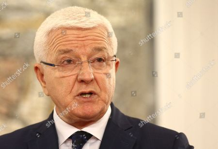 Prime Minister of Montenegro Dusko Markovic during a press conference in Podgorica
