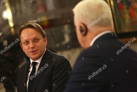 EU Commissioner Oliver Varhelyi and Prime Minister of Montenegro Dusko Markovic during a press conference in Podgorica