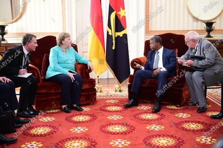 German Chancellor Angela Merkel (C-L) and Angola's President Joao Lourenco (C-R) during their meeting at the presidential palace in Luanda, Angola, 07 February 2020. Merkel is on a three-day trip to South Africa and Angola.