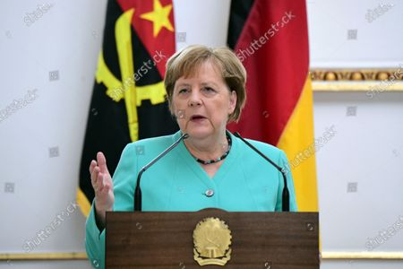 German Chancellor Angela Merkel speaks during a joint press conference with Angola's President Joao Lourenco (not in the picture) at the presidential palace in Luanda, Angola, 07 February 2020. Merkel is on a three-day trip to South Africa and Angola.