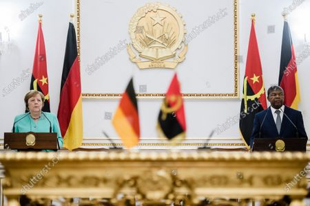 German Chancellor Angela Merkel (L) and Angola's President Joao Lourenco during a joint press conference at the presidential palace in Luanda, Angola, 07 February 2020. Merkel is on a three-day trip to South Africa and Angola.