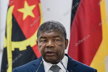 Angola's President Joao Lourenco speaks during a joint press conference with German Chancellor Angela Merkel  (not in the picture) at the presidential palace in Luanda, Angola, 07 February 2020. Merkel is on a three-day trip to South Africa and Angola.
