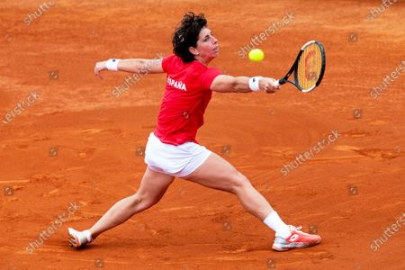 Spanish Fed Cup team player Carla Suarez Navarro in action against Misaki Doi of Japan during the Fed Cup playoff tie between Spain and Japan at La Manga tennis club in Atamaria, near Cartagena, southeastern Spain, 07 February 2020.