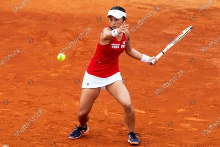 Japanese Fed Cup team player Misaki Doi in action against Carla Suarez Navarro of Spain during the Fed Cup playoff tie between Spain and Japan at La Manga tennis club in Atamaria, near Cartagena, southeastern Spain, 07 February 2020.