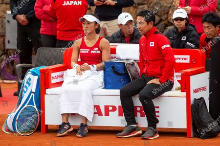 Japanese Fed Cup team player Misaki Doi (L) reacts next to team captain Thoshihisa Tsuchihashi (R) during her match against Carla Suarez Navarro of Spain at the Fed Cup playoff tie between Spain and Japan at La Manga tennis club in Atamaria, near Cartagena, southeastern Spain, 07 February 2020.