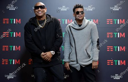 Members of Cuban band Gente De Zona, Alexander Delgado (L) and Randy Malcom Martinez (R) pose during a photocall at the 70th Sanremo Italian Song Festival, in Sanremo, Italy, 07 February 2020. The festival runs from 04 to 08 February.