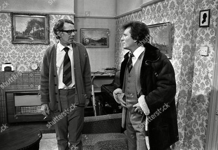 Ep 1642 Monday 11th October 1976 The warehouse opens again as Baldwin's Casuals. Londoner Mike Baldwin arrives in Weatherfield to supervise his new factory. As the office isn't finished he interviews Ernie at No.3, catching him unaware. He tells him he's opening a denim factory and is after a wages clerk. With Mike Baldwin, as played by Johnny Briggs ; Ernest Bishop, as played by Stephen Hancock.