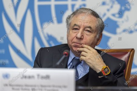 Jean Todt, UN Secretary-General's Special Envoy for Road Safety and FIA President, informs the media ahead of the 3rd Global Ministerial Conference on Road Safety, at the European headquarters of the United Nations in Geneva, Switzerland, 07 February 2020. The 3rd Global Ministerial Conference on Road Safety will take place in Stockholm, from 19-20 February 2020, which aims to reach high-level consensus for continued global road safety targets and collaboration up to 2030.