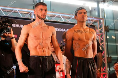 Martin J Ward and Jesus Amparan on stage during the Kell Brook vs Mark DeLuca Weigh-In at the Millennium Gallery, Arundel Gate, Sheffield
