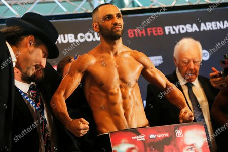 Kid Galahad weighs in during the Kell Brook vs Mark DeLuca Weigh-In at the Millennium Gallery, Arundel Gate, Sheffield