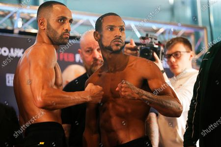 Kid Galahad and Claudio Marrero on stage during the Kell Brook vs Mark DeLuca Weigh-In at the Millennium Gallery, Arundel Gate, Sheffield