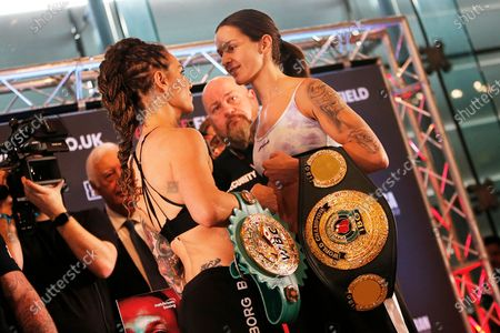 Eva Wahlstrom and Terri Harper face off on stage during the Kell Brook vs Mark DeLuca Weigh-In at the Millennium Gallery, Arundel Gate, Sheffield