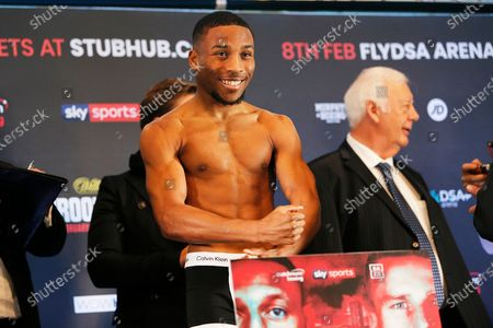 Donte Dixon weighs in during the Kell Brook vs Mark DeLuca Weigh-In at the Millennium Gallery, Arundel Gate, Sheffield