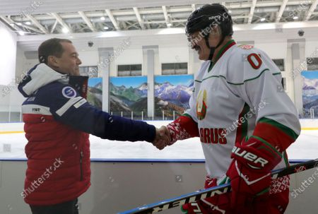 Belarusian President Alexander Lukashenko (R) shakes hands with Deputy head of Russia's Security Council, former Russian Prime Minister Dmitry Medvedev (L) during a friendly ice hockey match with Russian President Vladimir Putin (not pictured) in the Black Sea resort of Sochi, Russia, 07 February 2020. Belarus President Alexander Lukashenko is on a working visit to Russia to discuss aspect of the Russia-Belarus cooperation, including oil and gas cooperation which is on the top on the agenda talks.