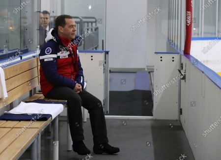Deputy head of Russian Security Council, former Russian Prime Minister Dmitry Medvedev watches a friendly ice hockey match in the Black Sea resort of Sochi, Russia, 07 February 2020.