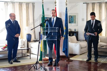 Minister and president of the Federal Supreme Court of Brazil, Jose Antonio Dias Toffoli (C), receives Fernando Garcia Casas (L), ambassador of Spain in Brazil, together with the minister of Justice of Brazil, Sergio Moro (R), to thank the collaboration for the extradition of the terrorist Carlos Garcia Julia, at the Spanish embassy in the city of Brasilia, Brazil, 07 February 2020. Carlos Garcia Julia was an architect of one of Spain's most high-profile political killings, known as the 1977 Atocha massacre. The attack, carried out on the Madrid offices of a law firm working for a labor union linked to the Communist Party, killed five people. Garcia Julia was extradited from Brazil to Spain on 07 February, after he was on the run for several decades.