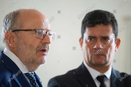 Fernando Garcia Casas (L), Ambassador of Spain in Brazil, with the Minister of Justice of Brazil, Sergio Moro (R), talks about the collaboration for the extradition of the terrorist Carlos Garcia Julia, at the Spanish embassy in the city of Brasilia, Brazil, 07 February 2020. Carlos Garcia Julia was an architect of one of Spain's most high-profile political killings, known as the 1977 Atocha massacre. The attack, carried out on the Madrid offices of a law firm working for a labor union linked to the Communist Party, killed five people. Garcia Julia was extradited from Brazil to Spain on 07 February, after he was on the run for several decades.