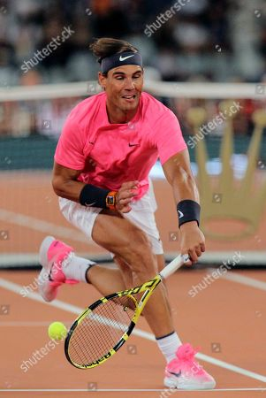 Rafael Nadal in action during the exhibition tennis match against Roger Federer, held at the Cape Town Stadium in Cape Town, South Africa